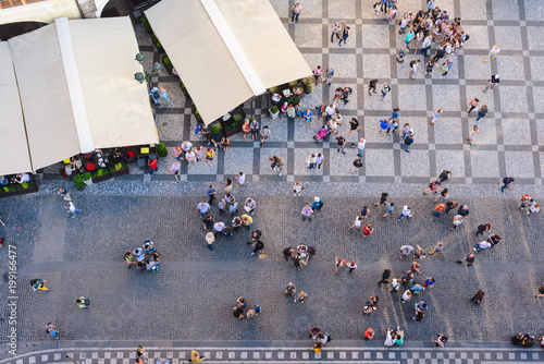 obraz PCV PRAGUE, CZECH REPUBLIC - MAY 2017: Aerial View of people visiting the Old Town Square from on top Old Town Hall tower in Prague, Czech Republic