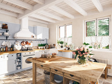 Retro Kitchen In A Cottage Wit...