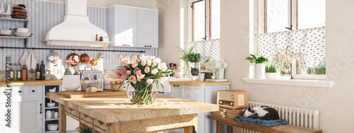 Photo  retro kitchen in a cottage with sleeping cat. 3D RENDERING