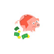 Cartoon repaired piggy bank with money near icon. Unhappy pig money box with sad facial expression. Business finance, banking rich and weath concept. Vector isolated background illustration