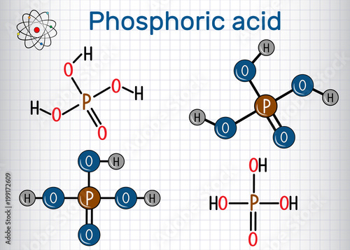 Phosphoric acid (orthophosphoric acid, H2PO4) is a mineral and weak acid molecule Canvas Print