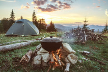 Tourist Camp With Fire, Tent A...