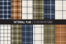Navy, Brown, Army Green, White Tattersall & Windowpane Plaid Vector Patterns. Men's Fashion Fabric. Father's Day Background. Small To Large Scale Check Textile Prints. Pattern Tile Swatches Included