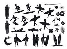Surfers Silhouettes Set. Men A...