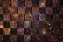 Abstract Glittering Geometric Texture With Orange, Green, Pink And Blue Pixels. Fantasy Checkered Fractal Design. Digital Art. 3D Rendering.