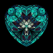 Abstract Crystal Teal Heart Wi...