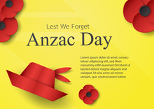 Abstract Background With Hat And Flower For Anzac Day On 25 April. Paper Craft Design With Copy Space.