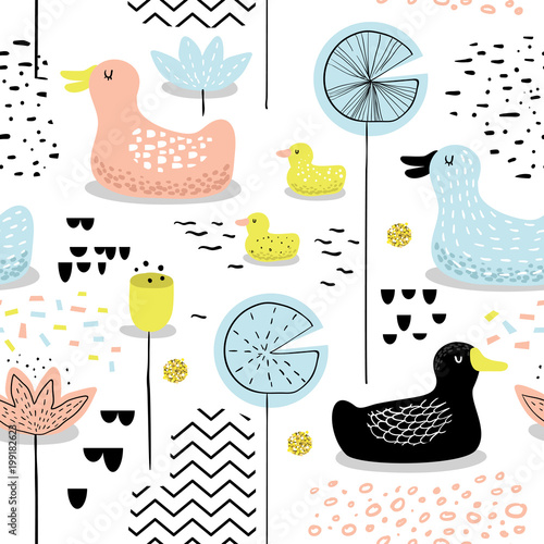 Cotton fabric Childish Seamless Pattern with Cute Ducks. Baby Background with Birds for Decoration, Wallpaper, Fabric. Vector illustration