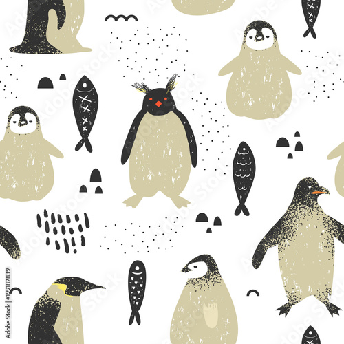 Baby Shower Seamless Pattern with Cute Penguins Tableau sur Toile