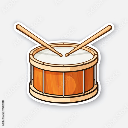 Photographie Sticker of classic wooden drum with drumsticks