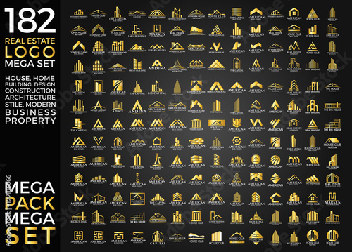 Photo  Mega Set and Big Group, Real Estate, Building and Construction Logo Vector Desig