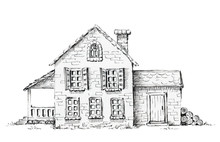 Old House, Cottage On Lawn. Graphic Hand Drawn Illustration