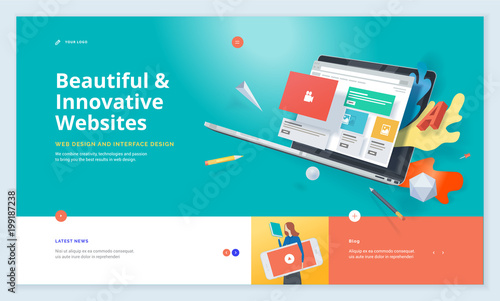 Obraz Effective website template design. Modern flat design vector illustration concept of web page design for website and mobile website development. Easy to edit and customize. - fototapety do salonu