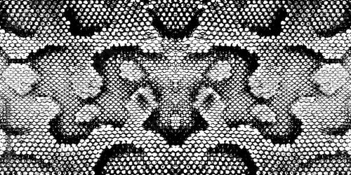 Print snake texture black white Fotobehang