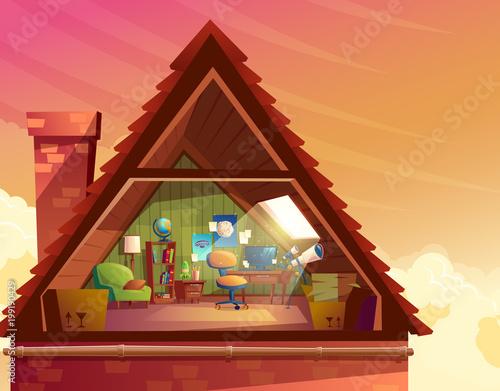 Vector Cartoon Ilration Of Attic Mansard Loft Under The Roof Building For Accommodation