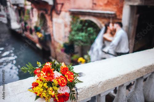 Fototapeta beautiful wedding bouquet of fresh flowers obraz