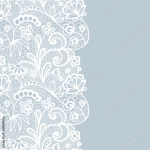 Seamless lace border. Invitation card. Fototapete