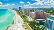 canvas print picture - Aerial view of South Beach, Miami Beach, Florida, USA.