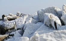 Eisbedeckte Steine