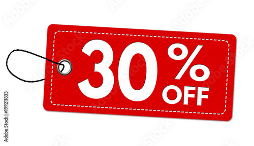 Fotografia  Special offer 30% off label or price tag