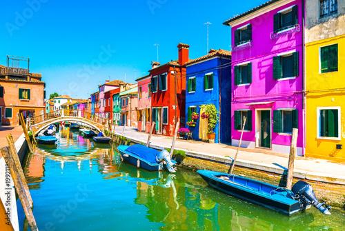 Aluminium Prints Venice Venice landmark, Burano island canal, bridge, colorful houses and boats, Italy.