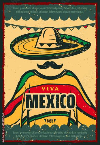 Plakat retro Viva Mexico dla wakacji Cinco de Mayo