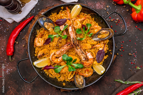 Fotografiet paella with seafood