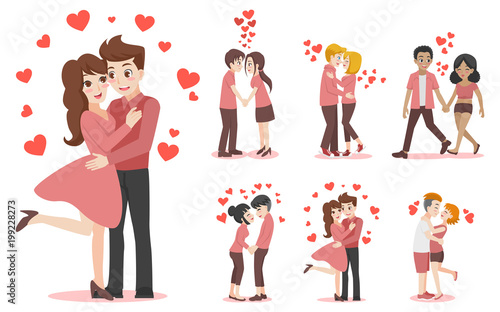 Set Of Characters Cartoon Cute Couple Of Lover For Love Valentine S