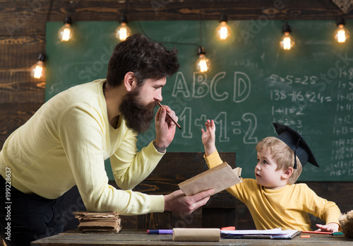 Father Teacher Reading Book Teaching Kid Son Chalkboard On Background Dad