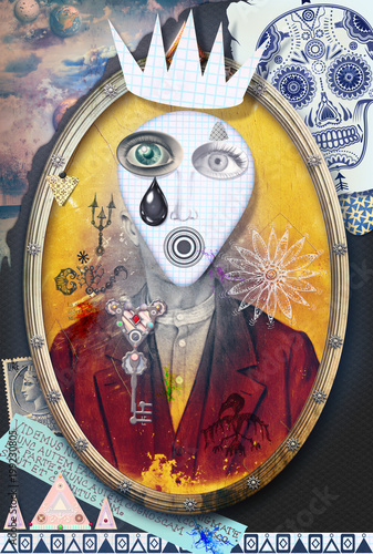 Foto op Canvas Imagination Ghost and weird. Mysterious,macabre and esoteric collage series