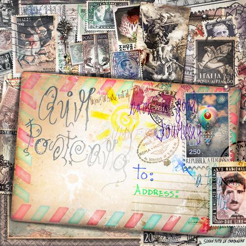 Photo sur Aluminium Imagination Sfondo vecchia maniera con cartoline e francobolli vintage