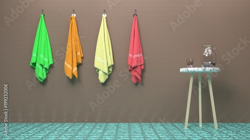 Photo Stands Bathhouse, bathtube, fitness club, massage salon, luxury pool or a spa scene - four colorful towels hanging on a brick-like brown wall, stylish wood and marble table