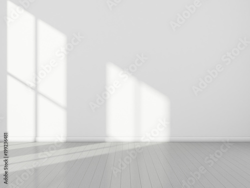 3D stimulate of white room interior and wood plank floor with sun light cast rhythm of shadow on the wall,Perspective of minimal design architecture