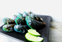 Close Up Green Exotic Healthy Mollusk Food Is Tasty Appetizer At Luxurious Restaurant, Delicious Mussel As Traditional Sea Cuisine, Pacific Ocean Dish