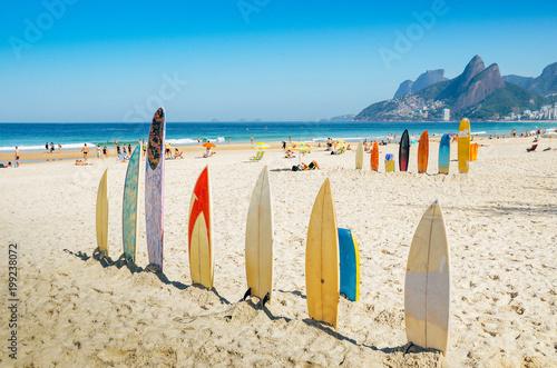 Photo Surfboards at Ipanema beach, Rio de Janeiro, Brazil
