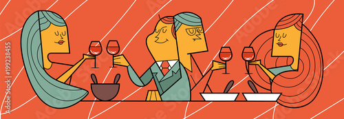 Fotobehang Klassieke abstractie supper at restaurant, two couples over a glass of wine, vector illustration