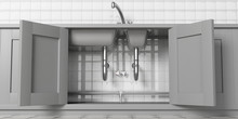 Kitchen Cabinets With Open Doors, Stainless Steel Sink And Water Tap, Under View. White Tiled Wall Backgound. 3d Illustration