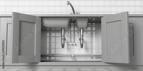 Cuadros en Lienzo  Kitchen cabinets with open doors, stainless steel sink and water tap, under view