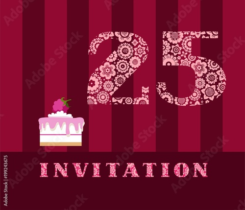 Invitation 25 Years Old Raspberry Pie Vector English The To