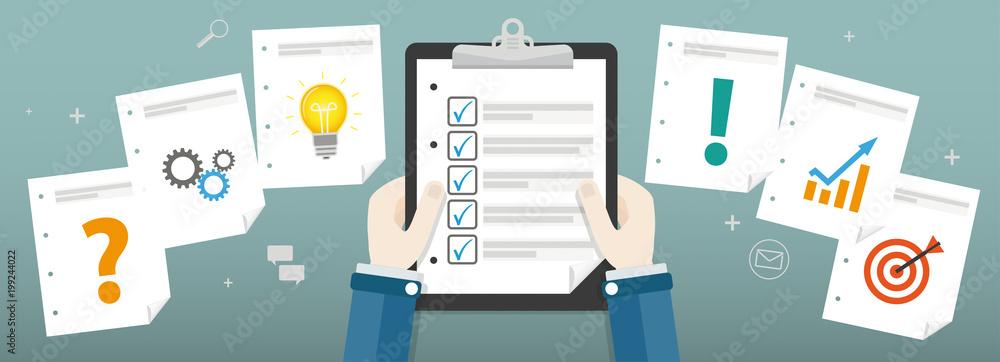 Fototapeta Human Hands Clipboard Checklist Planning Concept