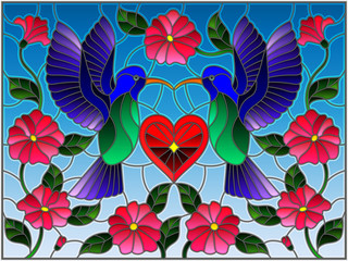 Naklejka Illustration in stained glass style with a pair of hummingbirds and a heart against the sky and flowers