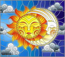 Illustration In Stained Glass Style , Abstract Sun And Moon In The Sky With Clouds