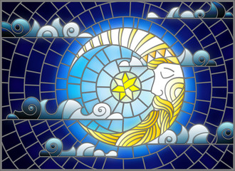 Naklejka Illustration in stained glass style with moon on cloudy sky background, horizontal orientation