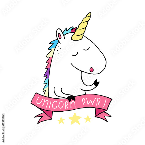 Unicorn Vector Icon Isolated On White Head Horse Sticker Patch