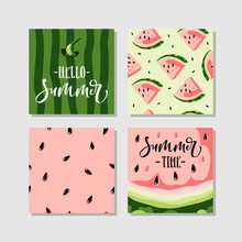 Vector Summer Cards Set With W...