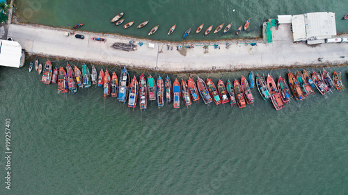 Printed kitchen splashbacks Khaki Aerial drone top view of tour and fishing boats morred on the pier in Pattaya, Thailand