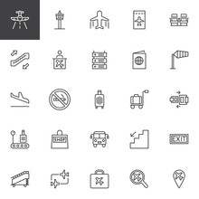 Airport Outline Icons Set. Linear Style Symbols Collection, Line Signs Pack. Vector Graphics. Set Includes Icons As Aircraft, Control Tower, Plane, Ticket, Seats, Escalator, Information Passport