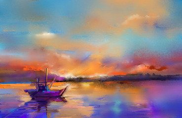 FototapetaImpressionism image of seascape paintings with sunlight background.
