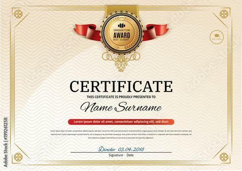 Obraz na plátne Official retro certificate with red gold design elements