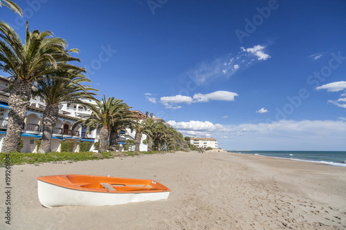 Mediterranean beach, Costa Dorada, Catalonia, Spain.